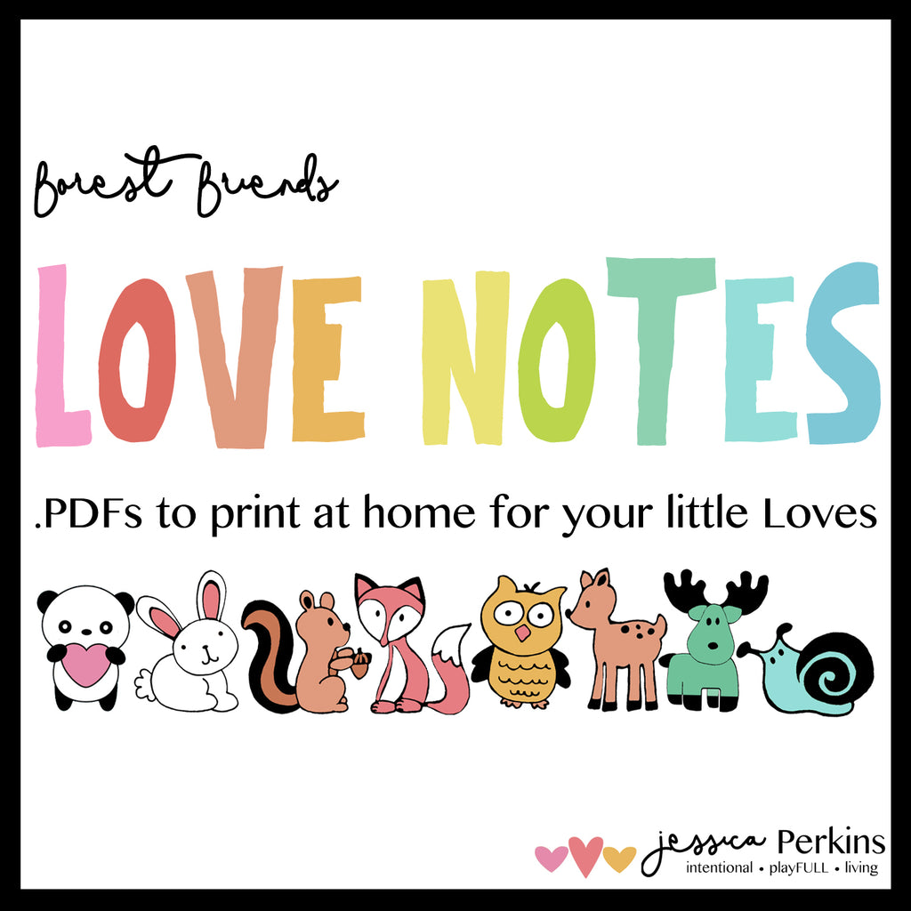 Lunchbox Notes - Love Notes - Forest Friends - Printable .pdf