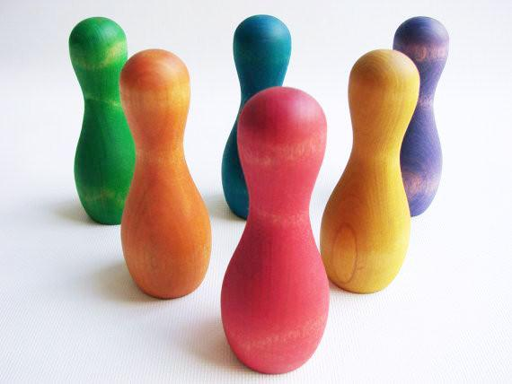 Wooden Toy - Rainbow Skittles