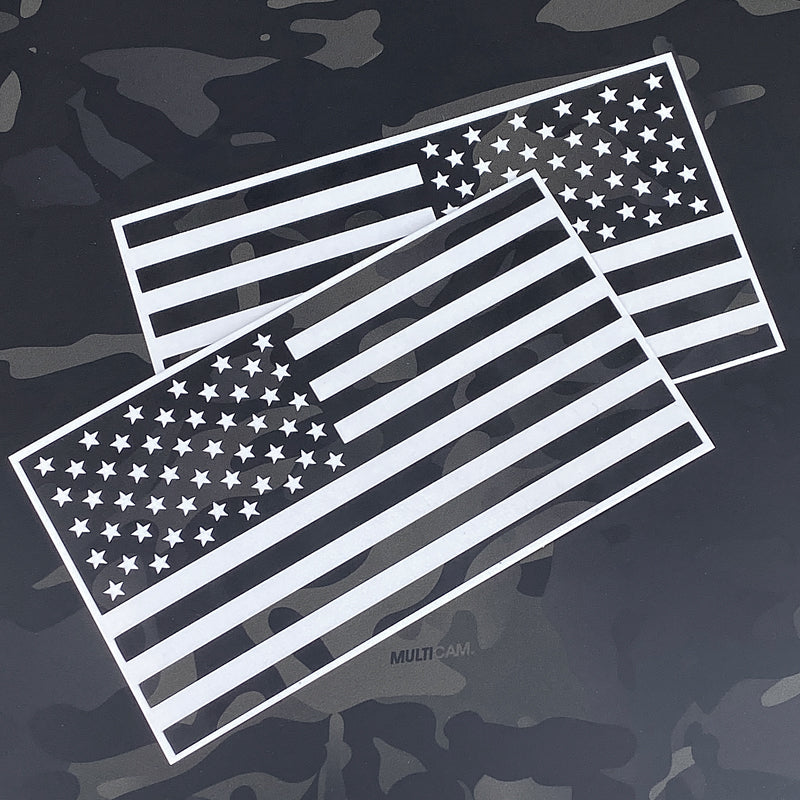 "American Flag L & R Vinyl ""MultiCam® Black"" STICKER SET"