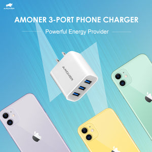 Amoner 3-Port Phone Charger