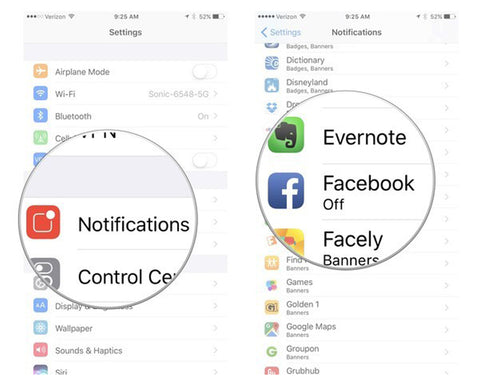 How to turn off iPhone notification service