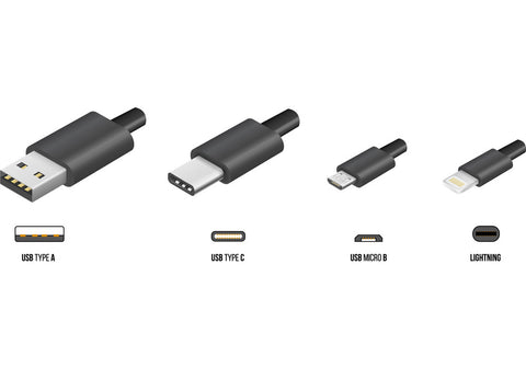 common USB types on phone chargers and phone cables