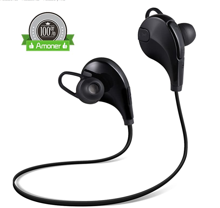 Amoner Bluetooth 4.1 Headphones Sweatproof Running Sports Wireless Headsets Noise Cancelling with Microphone In-ear Stereo Earphones for Any Bluetooth-enabled Devices