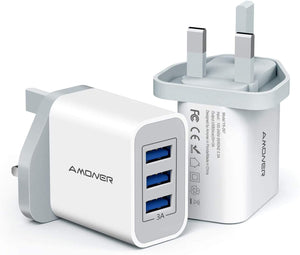 Amoner USB Charger 2Pack 3-Port 5V/2.4A Fast Charger Plug Mains Charger Compatible with Samsung,Huawei,Phone 12/Xs/XR/X/8/7/6/6S Plus, Pad, Pod etc