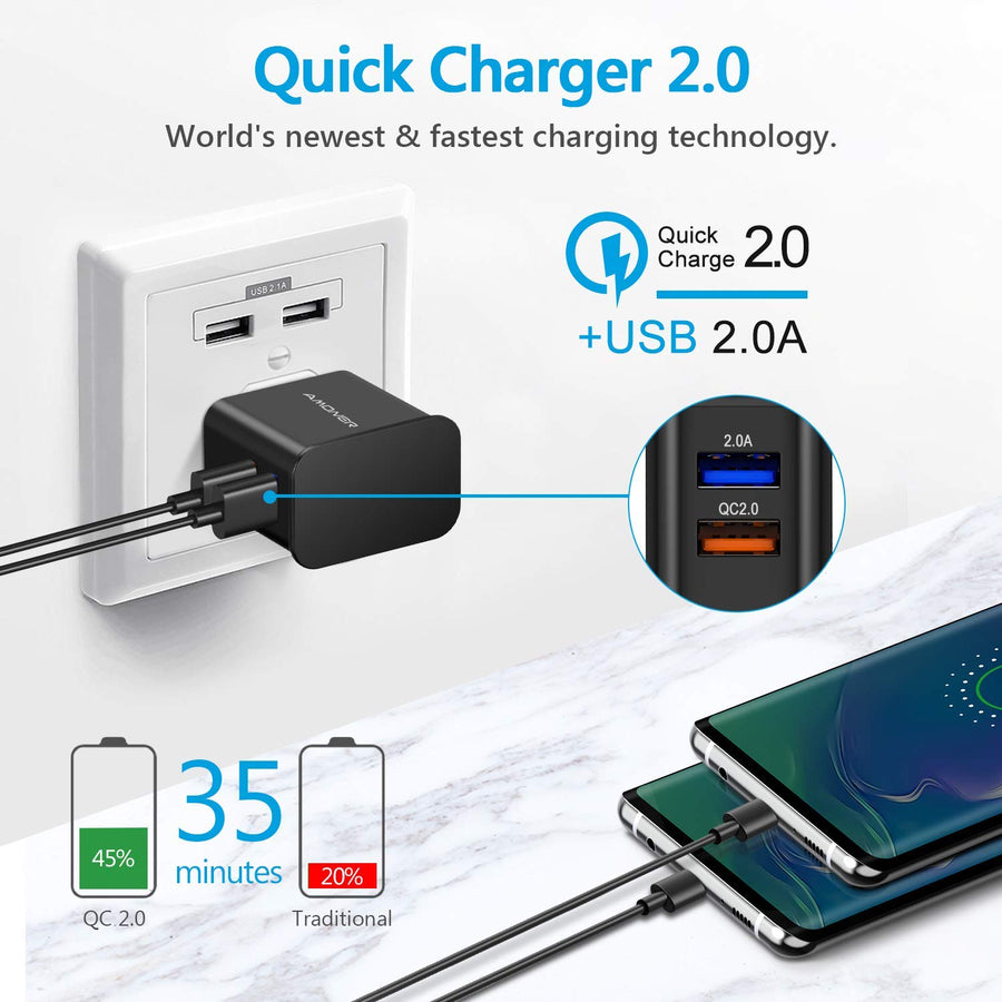 Amoner 25W  2Pack 4ft Adaptive Fast Charger