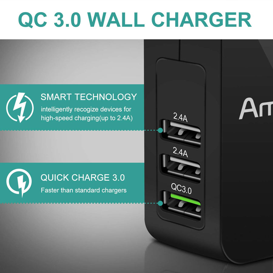 Amoner Quick Charge 3.0 3-Port Charger