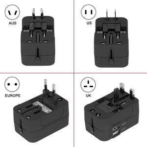 Travel Adapter, Amoner Worldwide All in One Universal Power Wall Charger AC Power Plug Adapter with Dual USB Charging Ports for USA EU UK AUS Cell Phone Laptop