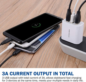 Amoner USB Charger 3-Port 3A Charger Adapter for iPhone X 8 8 Plus Galaxy S9 S9 Plus S8 S8 Plus Note iPad Sony HTC Motorola LG and More Devices Set of 2