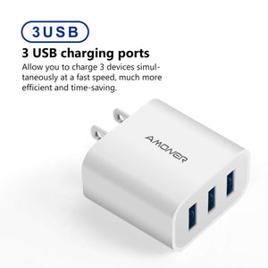 Amoner 3-Port USB Charger 2 Pack