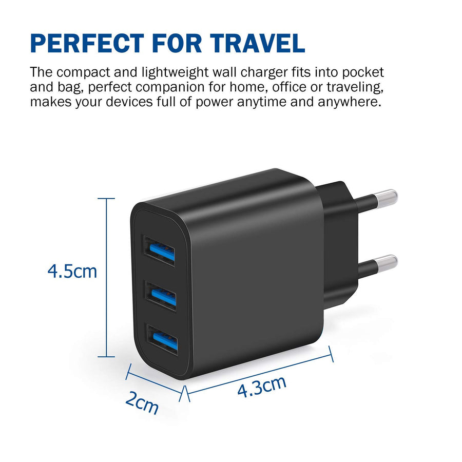 Amoner 24W Fast Charger Black For Spain