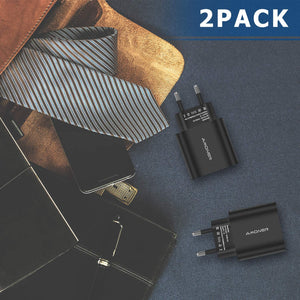 Amoner 24W Phone Charger Black 2 Pack For Spain