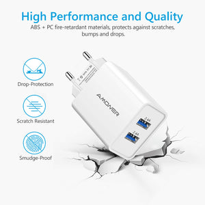 Amoner Durable Charger For iPhone, Samsung, Xiaomi, Huawei For France