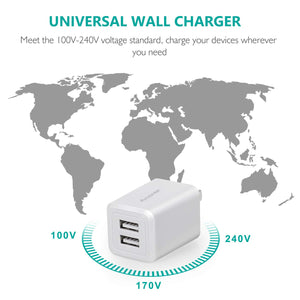 Amoner Dual USB Travel Charger Cube