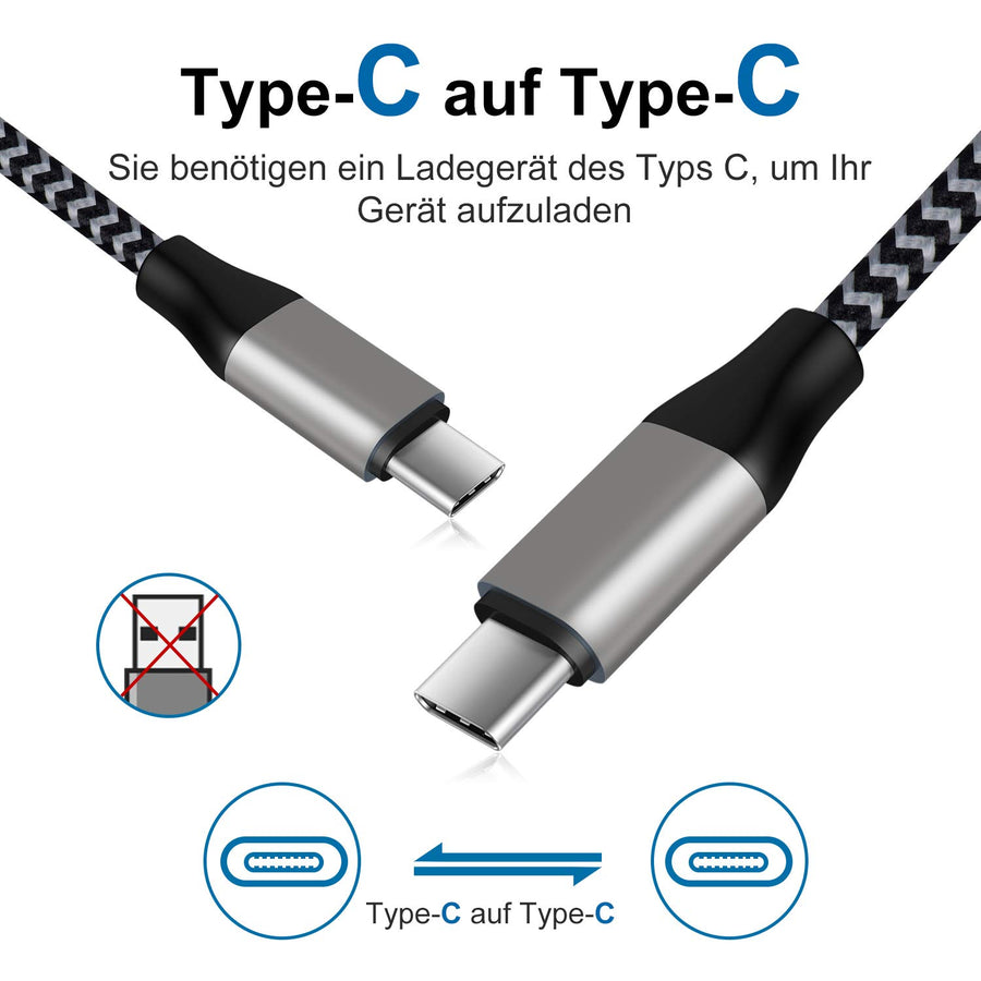 Amoner USB C to USB C Cable 1m 2Pack For Germany