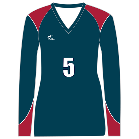 Image of Long Sleeve Womens Volleyball Top - Type A190013LSV