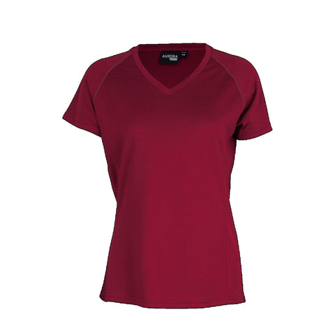 Aurora Womens Performance Tee, Colour: Maroon