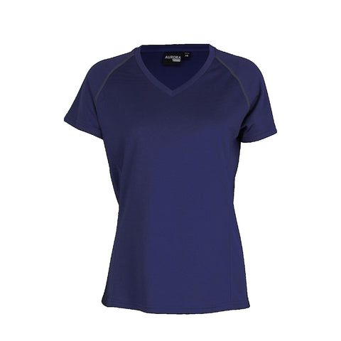 Aurora Womens Performance Tee, Colour: Navy