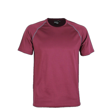 Aurora Kids Performance Tee, Colour: Maroon