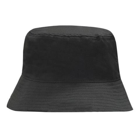 Breathable Poly Twill Bucket Hat, Size: L / XL, Colour: Black