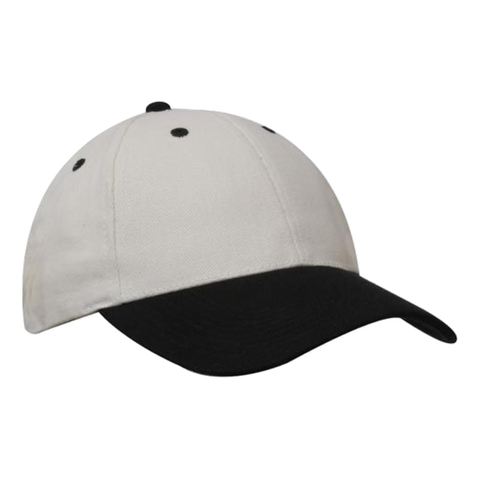 Brushed Heavy Cotton Cap, Colours: Natural / Black