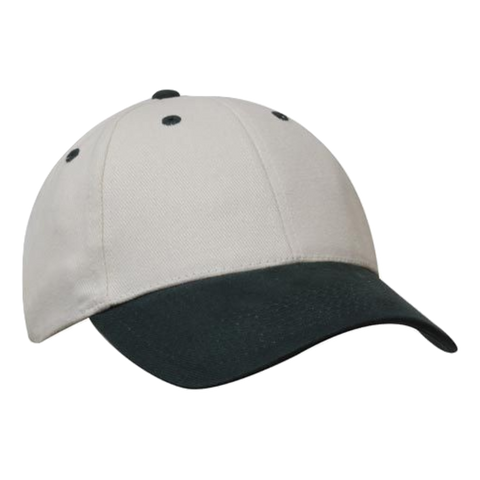 Brushed Heavy Cotton Cap, Colours: Natural / Bottle