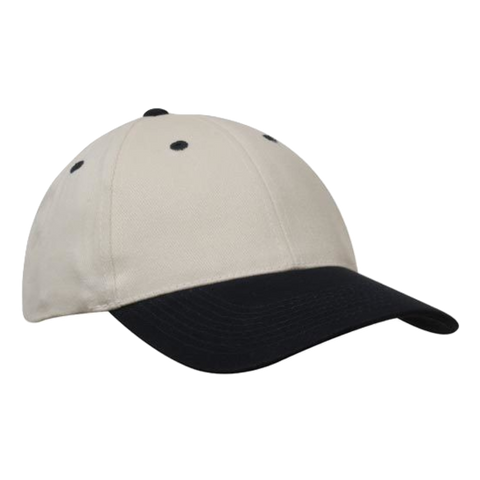 Brushed Heavy Cotton Cap - Colours Natural / Navy
