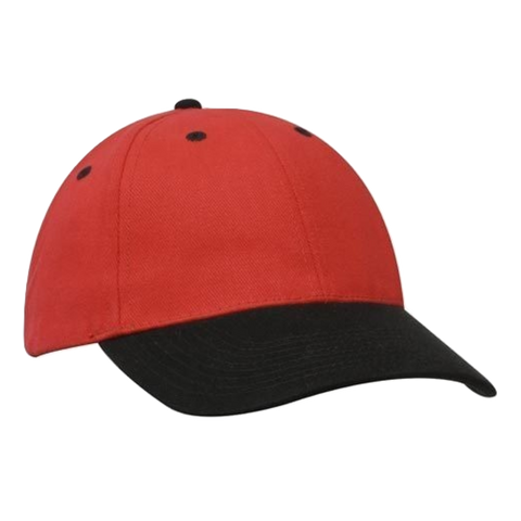 Brushed Heavy Cotton Cap, Colours: Red / Black