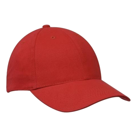 Brushed Heavy Cotton Cap - Colours Red