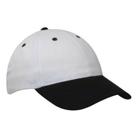 Brushed Heavy Cotton Cap - Colours White / Black