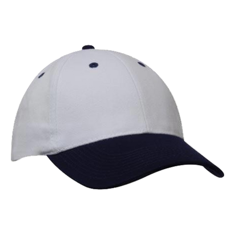 Image of Brushed Heavy Cotton Cap, Colours: White / Navy