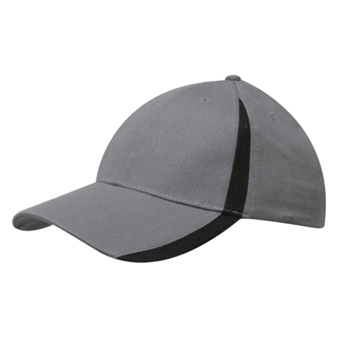 Image of Brushed Heavy Cotton with Inserts on Peak and Crown, Colours: Charcoal / Black