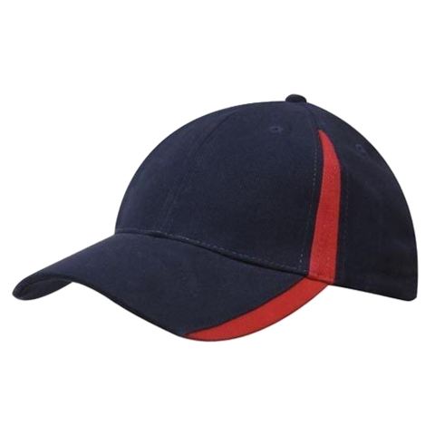 Brushed Heavy Cotton with Inserts on Peak and Crown - Colours Navy / Red