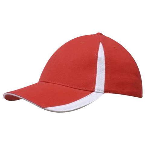 Image of Brushed Heavy Cotton with Inserts on Peak and Crown - Colours Red / White