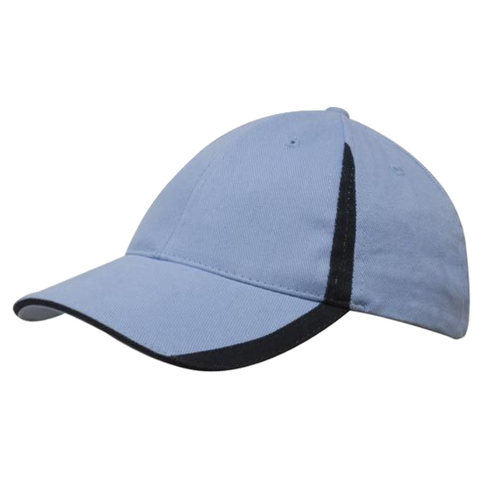 Image of Brushed Heavy Cotton with Inserts on Peak and Crown, Colours: Sky / Navy