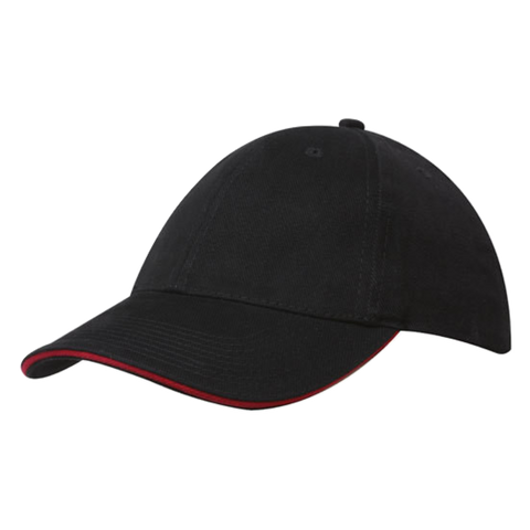 Brushed Heavy Cotton with Sandwich Trim, Colours: Black / Red