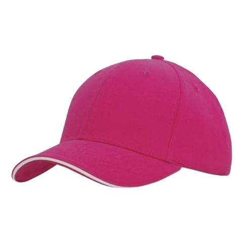 Image of Brushed Heavy Cotton with Sandwich Trim, Colours: Hot Pink / White