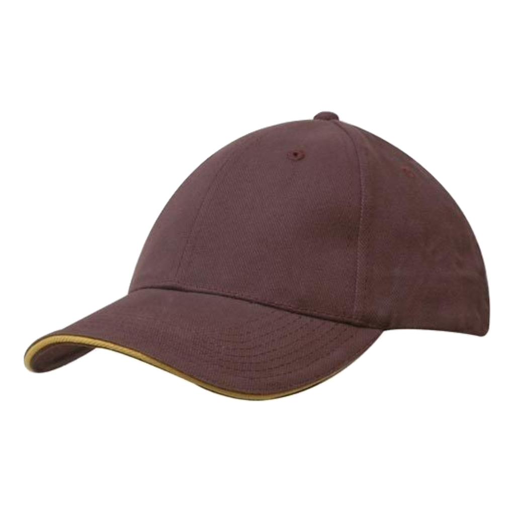 Brushed Heavy Cotton with Sandwich Trim - Colours Maroon / Gold