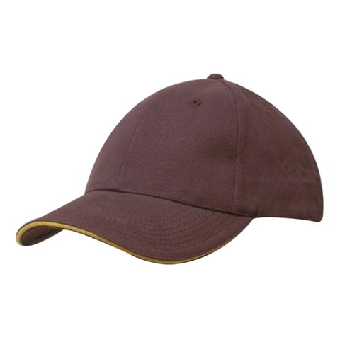 Image of Brushed Heavy Cotton with Sandwich Trim, Colours: Maroon / Gold