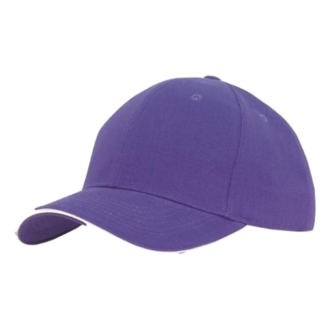 Image of Brushed Heavy Cotton with Sandwich Trim, Colours: Purple / White