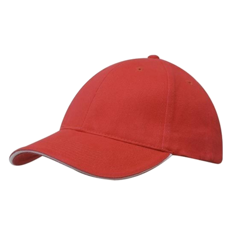 Image of Brushed Heavy Cotton with Sandwich Trim, Colours: Red / White
