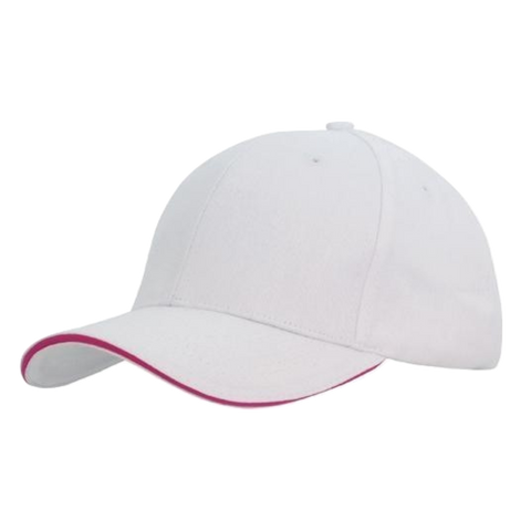 Image of Brushed Heavy Cotton with Sandwich Trim - Colours White / Hot Pink