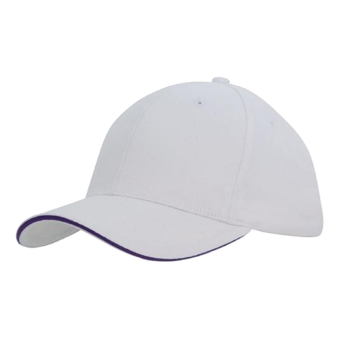 Brushed Heavy Cotton with Sandwich Trim, Colours: White / Purple