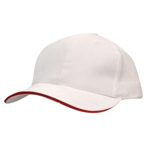 Image of Brushed Heavy Cotton with Sandwich Trim, Colours: White / Red