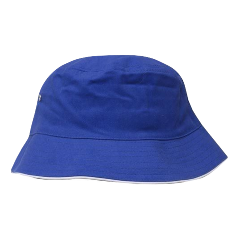 Brushed Sports Twill Bucket Hat - Size L / XL - Colours Royal / White
