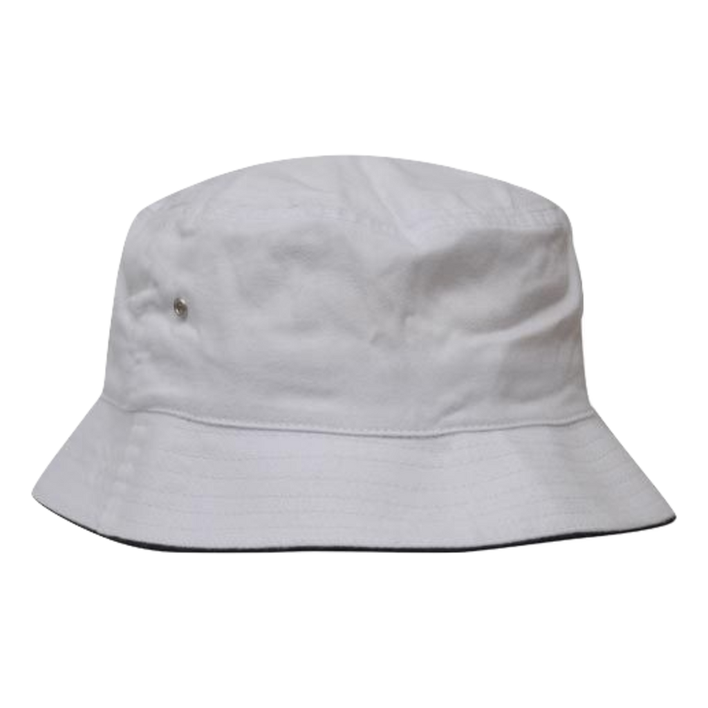 Brushed Sports Twill Bucket Hat, Size: L / XL, Colours: White / Navy