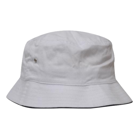 Brushed Sports Twill Bucket Hat - Size L / XL - Colours White / Navy