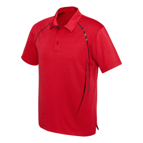 Image of Mens Cyber Polo - Colours Red / Silver