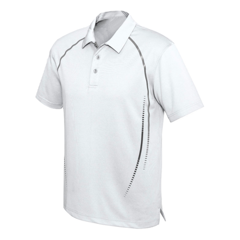 Image of Mens Cyber Polo - Colours White / Silver