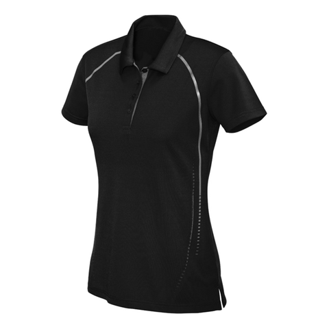 Womens Cyber Polo, Colours: Black / Silver