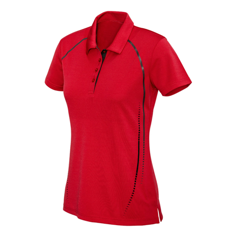 Womens Cyber Polo, Colours: Red / Silver
